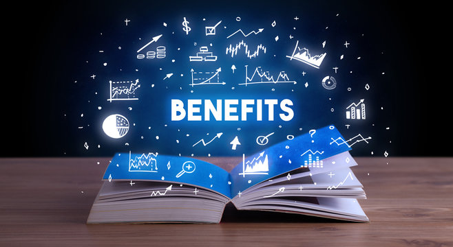 BENEFITS inscription coming out from an open book, business concept