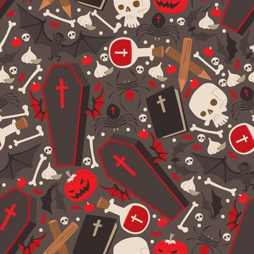 Vampire icons in seamless pattern, vector illustration. Halloween symbols, pumpkin, coffin, blood vials and bats. Set of vampire emblems, wrapping paper print