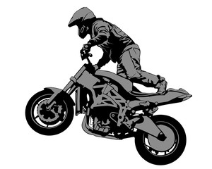 Wall Mural - Man in protective clothing rides a sports bike. Isolated silhouette on a white background