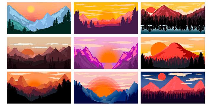 Set of poster template with wild mountains landscape. Design element for banner, flyer, card. Vector illustration