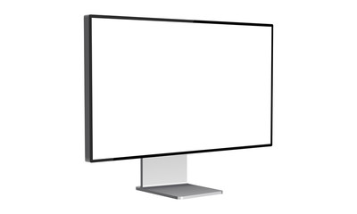 Modern computer monitor mockup isolated on white background side view. Vector illustration