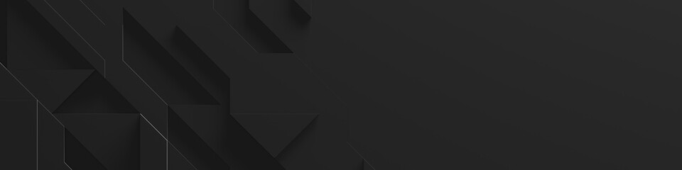 Black Wide Abstract Background With Copy Space (Website Head) (3D Illustration)