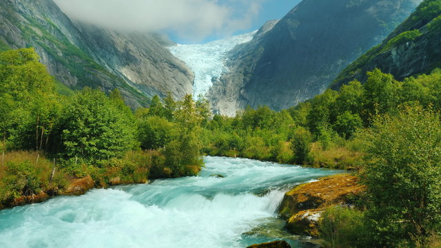 Mountain river and Brixdal glacier in the background. The Incredible Landscapes of Norway