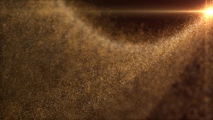 Wall Mural - Defocus mysterious sparkling illuminated dust particles floating in the abyss for celebration and festive theme abstract texture background