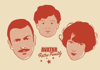 Avatar Retro Family. Cartoon faces woman, man and child retro style