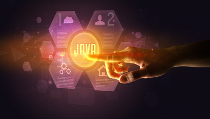 Hand touching JAVA inscription, new technology concept