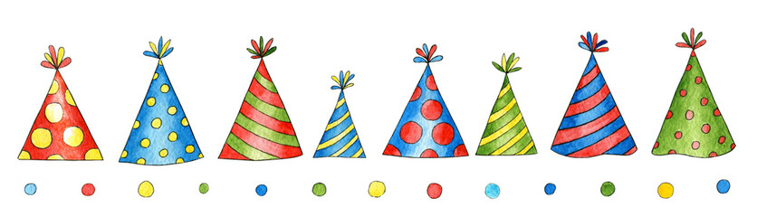 Set of watercolor birthday caps for greeting card, background, postcard, invitation, cover, wallpaper. Hand drawn cute hats for holiday, party. Cartoon collection for congratulations