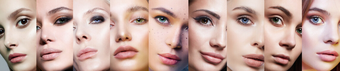 Different female eyes. collage of beautiful women Fotomurales