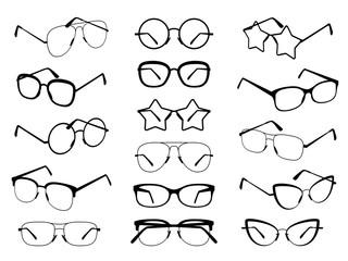 Glasses silhouettes. Modern eyeglasses, fashion black eyewear symbols. Stylish retro sunglasses. Medical spectacles vector icons set
