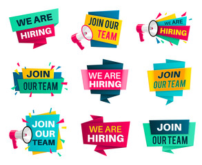 Join our team. Business company job, we are hiring labels, opportunities announcement vacancy creative recruiting offer banner, vector badges