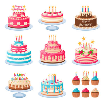 Cartoon cakes. Colorful delicious desserts, birthday cake with celebration candles and chocolate slices, holiday cupcakes vector set