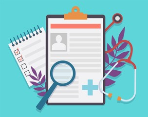 Medical record. Patient card medical history and diagnosis, medicine checklist with checkbox. Healthcare insurance service vector concept