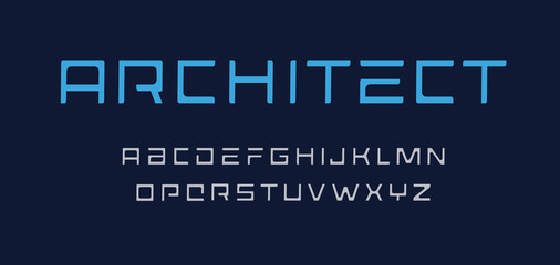 Fotomurales - Architect letters set. Geometric style alphabet. Techno uppercase font for games, ad, logos, banner, monogram and poster. Vector typography design.