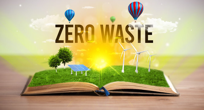 Open book with ZERO WASTE inscription, renewable energy concept