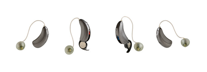 Hearing aids for hearing impairment, white background