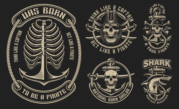 Set of vector illustrations for the pirate theme