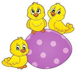 Deurstickers Voor kinderen Cute chickens topic image 6