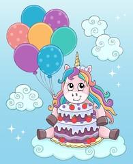 Deurstickers Voor kinderen Unicorn with cake and balloons theme 2