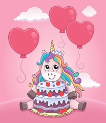 Foto auf AluDibond Für Kinder Unicorn with cake and balloons theme 3