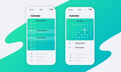 Calendar app. Phone application UI with calendar concept, schedule and reminder design. Vector smartphone screen with bright mockup planner interface