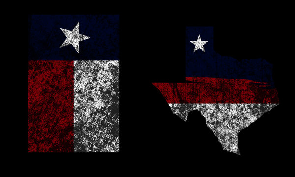 Vintage Distressed Retro Texas Flag and Texas Map Vector