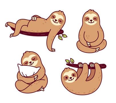 Cute cartoon sloth set
