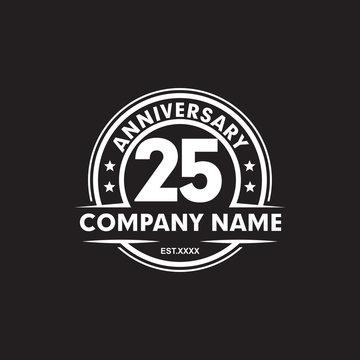 25th year anniversary emblem logo design vector template