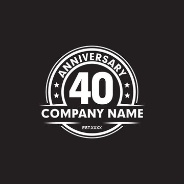 40th year anniversary emblem logo design vector template