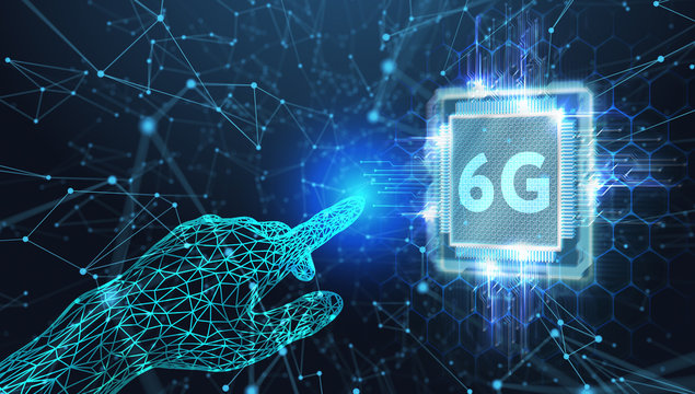 The concept of 6G network, high-speed mobile Internet, new generation networks. Business, modern technology, internet and networking concept.