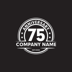 75th year anniversary emblem logo design vector template
