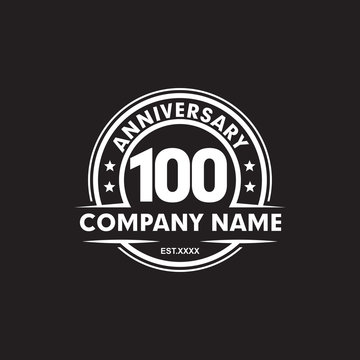 100th year anniversary emblem logo design vector template