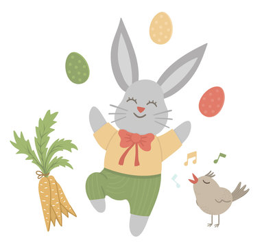Vector flat funny bunny with colored eggs, carrot and singing bird. Cute Easter illustration. Spring holiday picture isolated on white background..