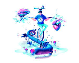 harmony illustration man circus performer riding unicycle on rope inner balance in hand equilibrium counterpoise between heart and brain