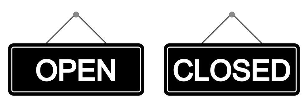 Open and closed sign set. Vector