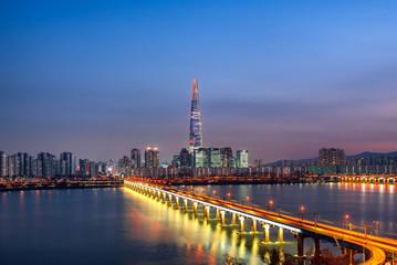 Fotobehang Seoel seoul city at night south korea