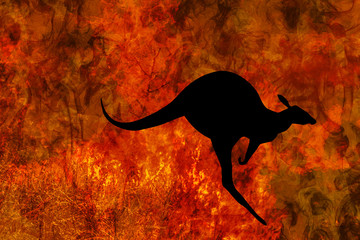 Wall Mural - kangaroo silhouette jumping while escaping from a fire in Australia forests. Australian wildlife in bushfires 2019 and 2020. Conceptual:save kangaroos, global warming, natural disaster, climate change