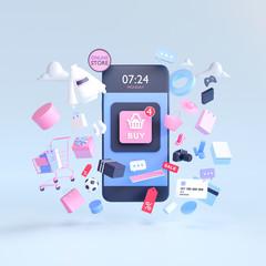 Fototapeta Shopping on-line online store on smartphone mobile application 3d rendering obraz
