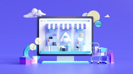 Fototapeta Shopping on-line online store on website mobile application 3d rendering obraz