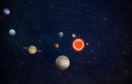 Solar system planets  at starry sky