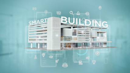 Smart building connected - 3d rendering