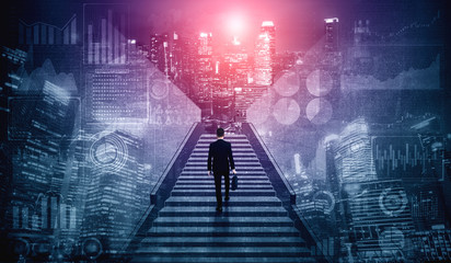 Ambitious business man climbing stairs to meet incoming challenge and business opportunity. The...