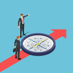 Isometric businessman with compass advice his partner to go the right way