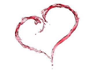 Heart shaped red wine splash.
