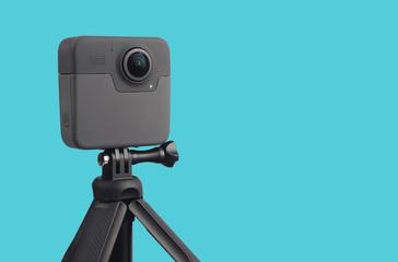 Modern 360 degree digital camera with tripod