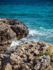 turquoise sea water of Mediterranian Coast landscape and rocks