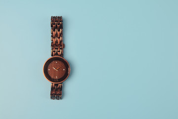 Girl's classic wrist watch on white background
