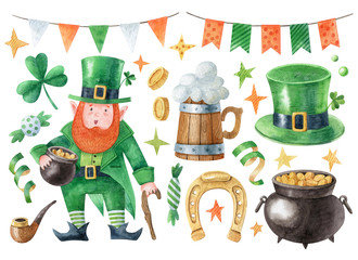 Saint Patrick's day clipart collection. Set of watercolor symbols include leprechaun, pot of gold, green hat, horseshoe, beer mug and decorations isolated on white background. Hand drawn illustration.