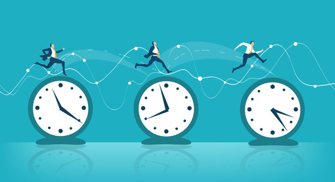 Business people hopping from one clock to another as symbol of business travel, international communication and different time zones leaving Business concept illustration.