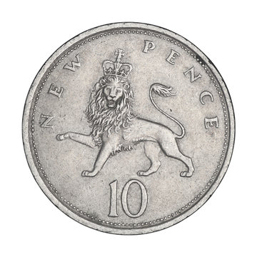 English ten pence with queen and lion