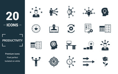 Productivity icon set. Include creative elements skill, time management, coffee break, work plan, daily tasks icons. Can be used for report, presentation, diagram, web design
